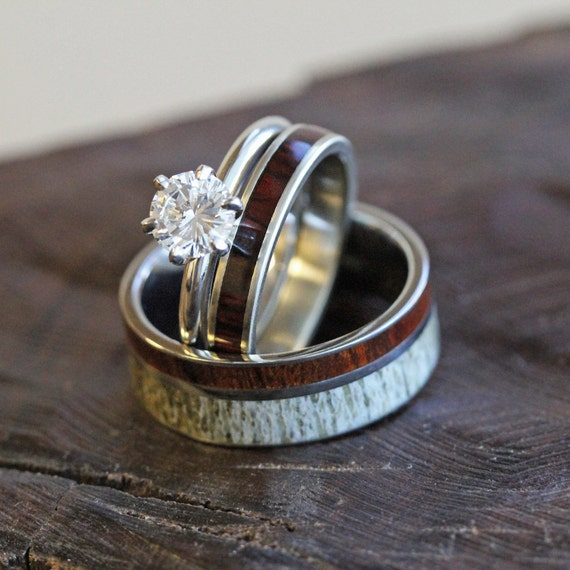 Unique Deer Antler Wedding Ring Set Womens Diamond And