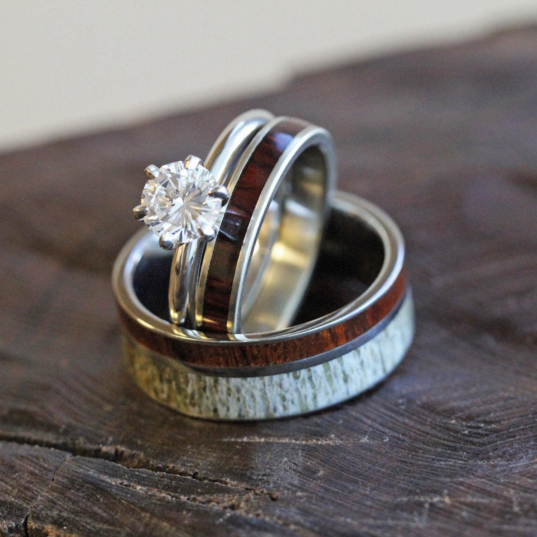 Unique Deer Antler Wedding Ring Set Women S Diamond And