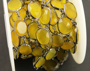 Yellow Chalcedony  Bezel Chain Component, Oxidized Sterling Silver,Sold as Foot,14x16  mm, (GMCOX-YCHLC/01)