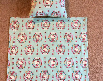 Doll Blanket and Pillow. Fits up to 18 inch Dolls such as American Girl dolls and many more.