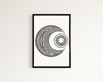 Moon Mandala - Hand drawn art print