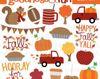 Buy 2, Get 1 FREE - Happy Fall Fall Clipart - Digital Happy Fall Clipart - Instant Download