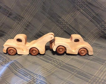 Tow truck and car, tow truck, car, vehicles, wooden toys, handmade toys