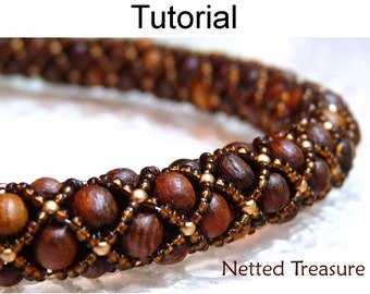 Beading Tutorials and Patterns - Easy Jewelry Making - Necklace Bracelet - Tubular - Netted - Simple Bead Patterns - Netted Treasure #459