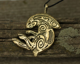 Rabbit Bunny bronze pendant necklace