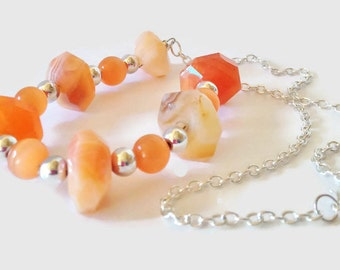 Orange Chalcedony Necklace Orange Gemstone Jewellery Chalcedony Gemstone Necklace Tangerine Jewelry Tangerine Necklace Gift For Her