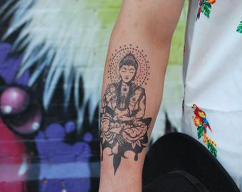 Buddha Temporary Tattoo Peace Temporary Tattoo Fake Tattoo Spiritual Temporary Tattoo Peaceful Temporary Tattoo