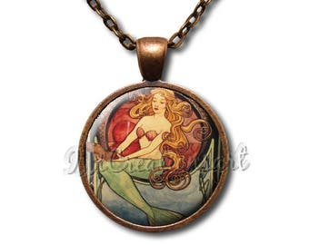 Mermaid Vintage Glass Dome Pendant or with Chain Link Necklace FT145