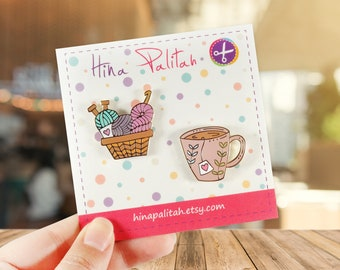 PACK Tea Cup and Yarn Basket- Hard Enamel Pin - Crochet - Knit - Tea Time - Craft - Accessory - Lapel Pin - Cloisonne Pin - Brooch