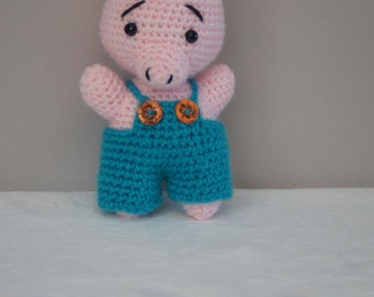 Little pig, little pig can i give you a home, adorable crocheted piggy in dungarees by Liz