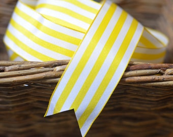 bright yellow and white striped ribbon