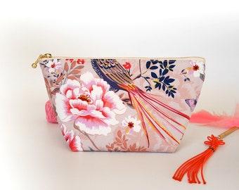 Pink makeup bag, cosmetic zipper pouch, oriental print, floral zipper bag