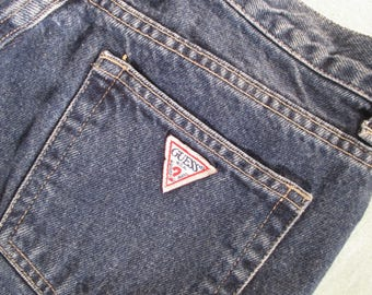 29L Guess Jeans High Waist Tapered Leg 90s Mom Jeans Dark Wash Classic Guess Triangle Logo 1990s Denim
