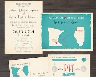 Destination wedding invitation USA Two States One Love One Big Celebration Wedding Invitation RSVP Set in turquoise blue DEPOSIT Payment
