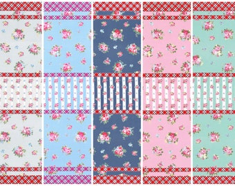 Oxford cotton canvas - Flower Sugar Maison Lecien Japan -  L40566 Stripes, select a 1/2 yard