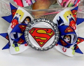 Supergirl Basic Hair Bow with Loops and Spikes Super Hero Girls