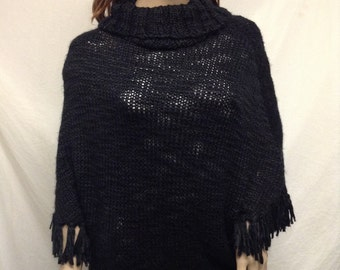 Knit poncho, Carol Rose, Poncho top, Black poncho, Fringed