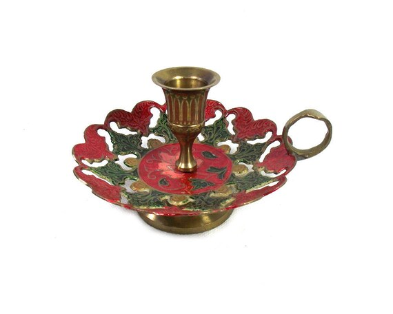 Vintage Enamelled Brass Candlestick Holder in Red and Green