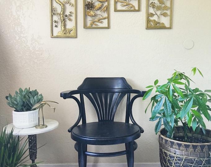Vintage Art Deco Style Dark Wood Arm Chair