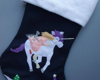 """SOLD OUT FOR 2017 Unicorn Princess Christmas Stocking--""""Magical Midnight Unicorn Ride"""""""