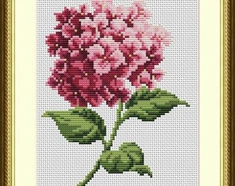 CS 721 Pink Hydrangea Cross stitch starter kit for adults