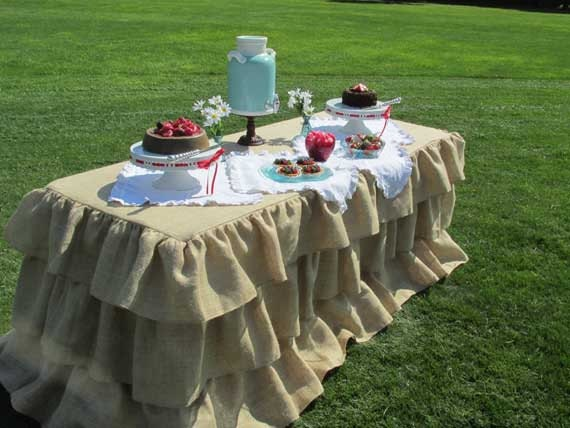 burlap tablecloth for 6 foot rectangle 72 inch table 3 ruffles. Black Bedroom Furniture Sets. Home Design Ideas