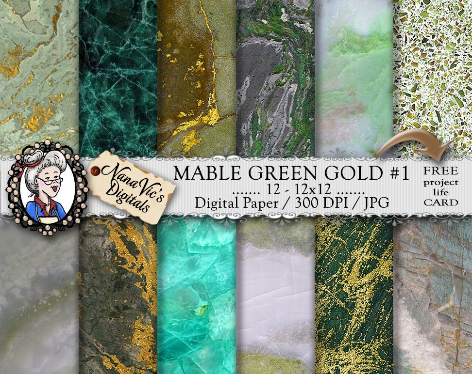 Marble Digital Paper Green Marble Amp Gold Veins Marble
