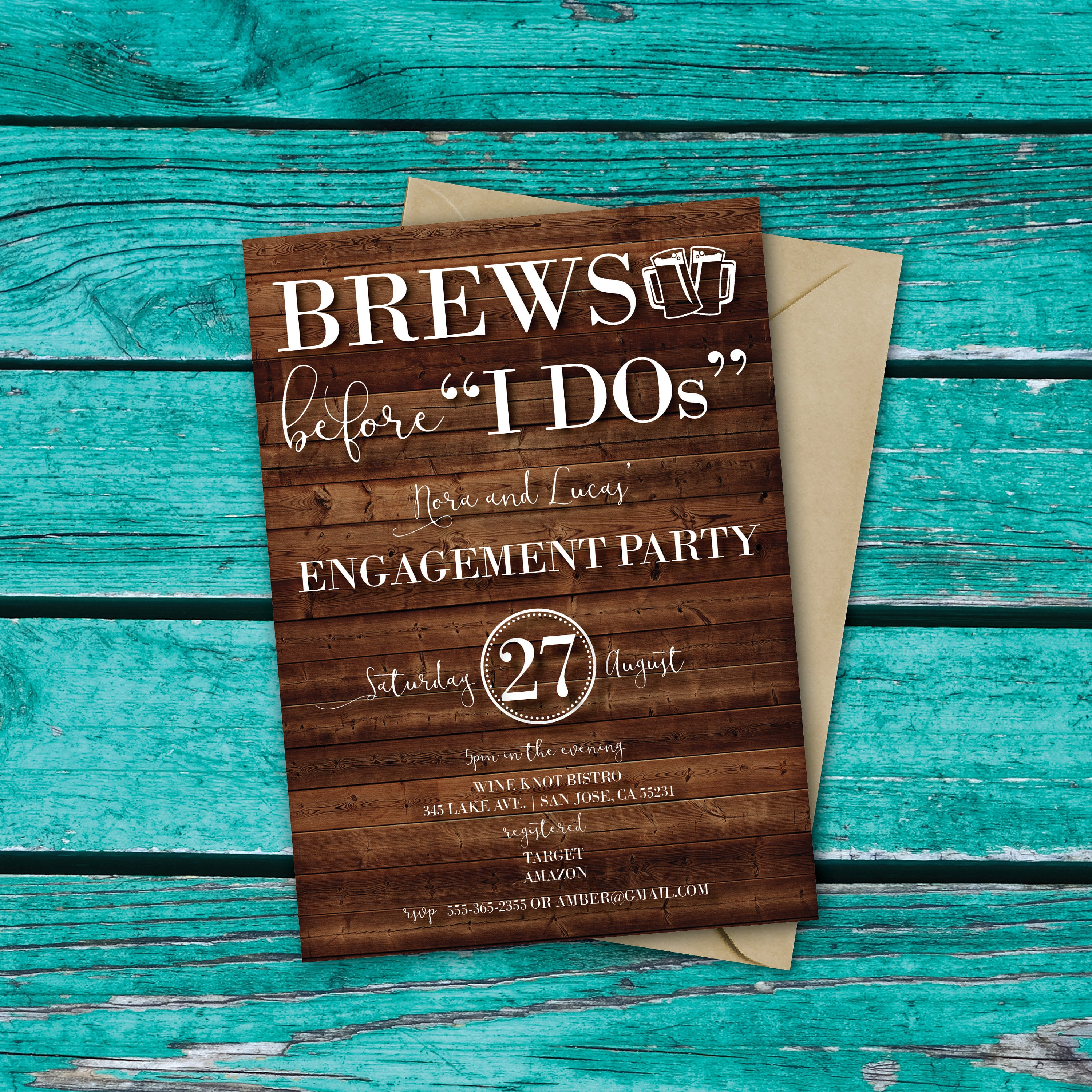 brews before i dos love is brewing engagement invitation