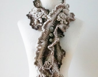 Rose Ruffle Scarf in ombre colours of ivory to brown, X Long version, Rose scarf, Woman's scarf, handpainted Merino Wool, Crochet Scarf