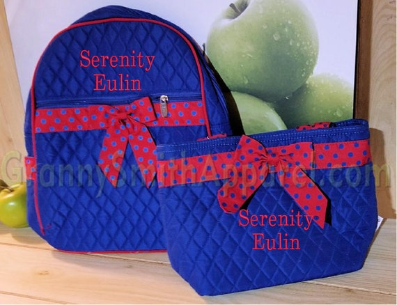 Royal blue backpack with red trim. Book bag lunch set. Personalized for your back to schooler. Many fonts. Customize. Personalize. Monogram.