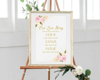 Printable Our Love Story Sign Our Love Story Printable Love Story Sign Important Dates Sign Personalized Wedding Love Story Sign #CL111
