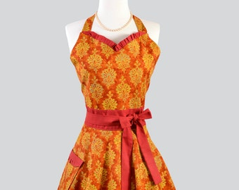 Womens Sweetheart Hostess Apron . Feminine Retro Ruffled Sweetheart Neckline Made With Michael Millers Pumpkin Damask Trimmed With Rust