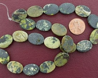 oval flat gemstone yellow turquoise beads