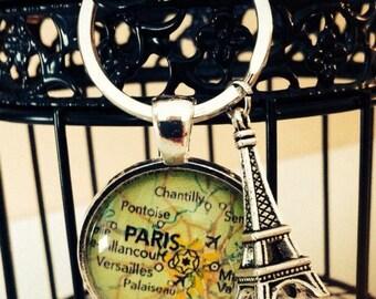 Customized Paris map keychain