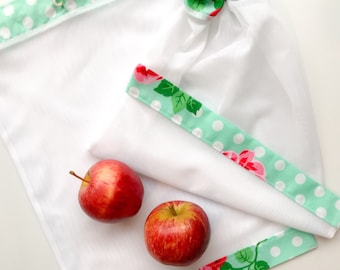 Reusable produce bags, vegetable bags, large size, market bags, drawstring washable bags