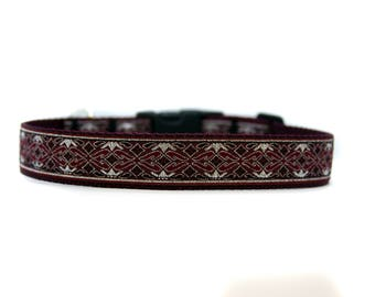 1 Inch Wide Dog Collar with Adjustable Buckle or Martingale in Baroque Burgundy - 12 Days of Christmas
