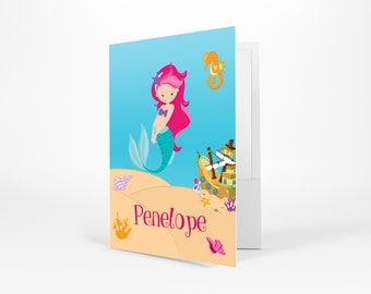Mermaid Personalized Folder - Mermaid Sea Floor Shells Ship, Customized Pocket Folder 2 Horizontal Pockets Back to School