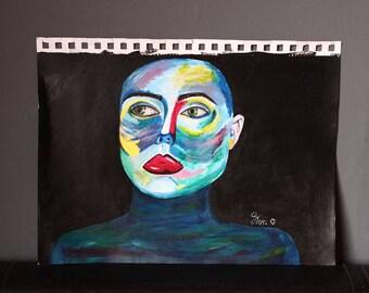 "Original Art- ""Deja Vu"" Acrylic on Sketchbook Paper 30 x 21cm Jasmine Terri Art"