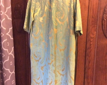 Vintage 60s House Dress Size Small Paisley Pattern Asian Influence