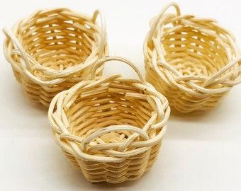 3 pieces Miniature Wicker Basket, Miniature Basket, Miniature Doll's house and decorate