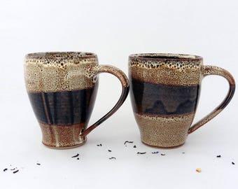 Set of 2 mugs, brown stripes speckled, stoneware
