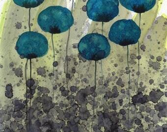 Watercolor Painting: Watercolor Flower Painting -- Art Print --  In Too Deep -- Teal Flowers -- 8x10