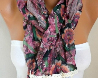 Floral Scarf Teacher Gift  Easter Gift Spring Summer Shawl Cotton Cowl Multicolor Gift Ideas For Her Women's Fashion Accessories