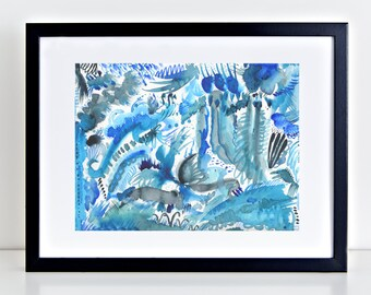 "Abstract Watercolor Print titled ""Ocean Jungle"" - Abstract Wall Art, Watercolor Print, Art Print, Nautical, Modern Art, Contemporary Art"
