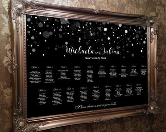 Seating chart printable wedding black and bokeh lights, wedding sign guests list,  seating table assignments,  seating plan  download