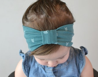 Turban Headband Green Arrows, Baby Turban, Baby Headwrap, Child's Turban, Toddler Headwrap,  Adult Turban Headband