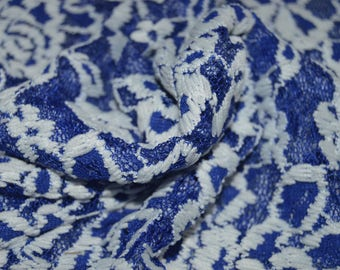 """0.58 yards Royal Blue & White Stretch Floral Lace Fabric 60"""" W"""