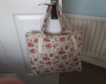 Linen rose Tote bag hand made
