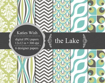 The Lake Digital Paper Kit  Instant Download for scrapbooking, invites, card marking, poster prints