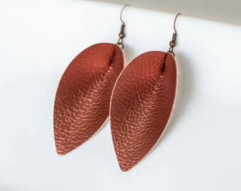 Copper Pinched Leather Earrings